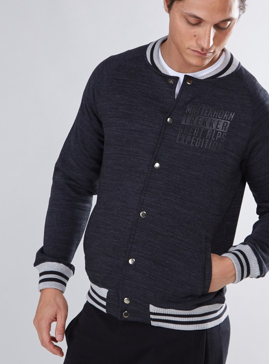 Pocket Detail Jacket with Button Closure and Long Sleeves
