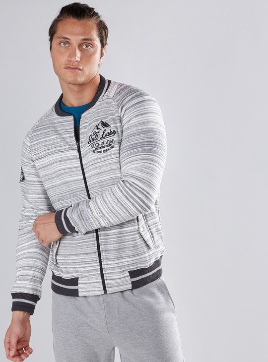 Striped Bomber Jacket wtih Long Sleeves and Pocket Detail