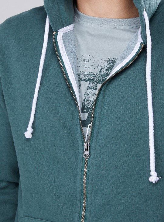 Pocket Detail Jacket with Zip Closure and Hood