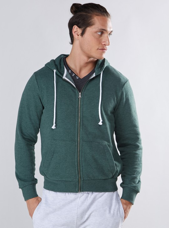 Hoodie with Pocket Detail and Zip Closure