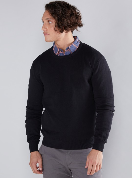 Ribbed Round Neck Sweater with Long Sleeves
