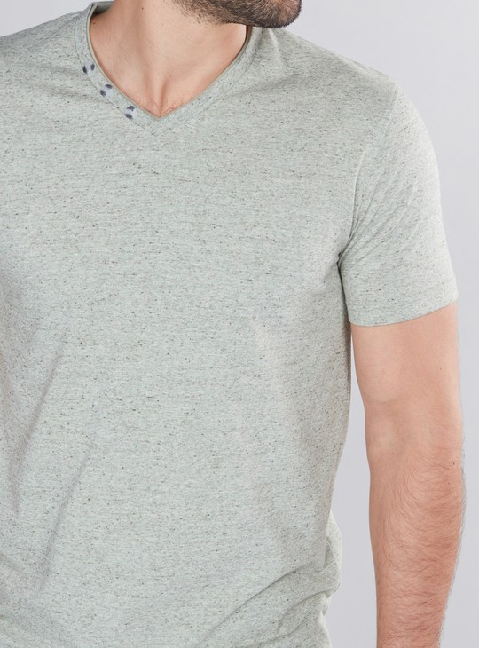 V-Neck T-Shirt with Short Sleeves and Button Detail