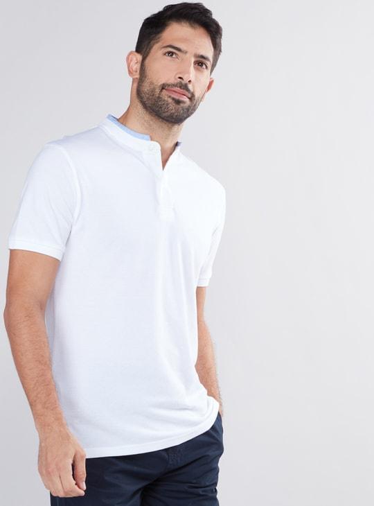Mandarin Collar T-Shirt with Short Sleeves
