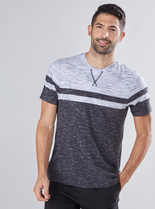 Melange Printed T-Shirt with Round Neck and Short Sleeves