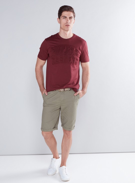 Textured T-Shirt with Round Neck and Short Sleeves