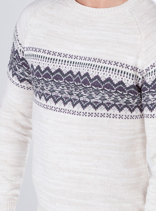 Printed and Textured Sweater with Long Sleeves