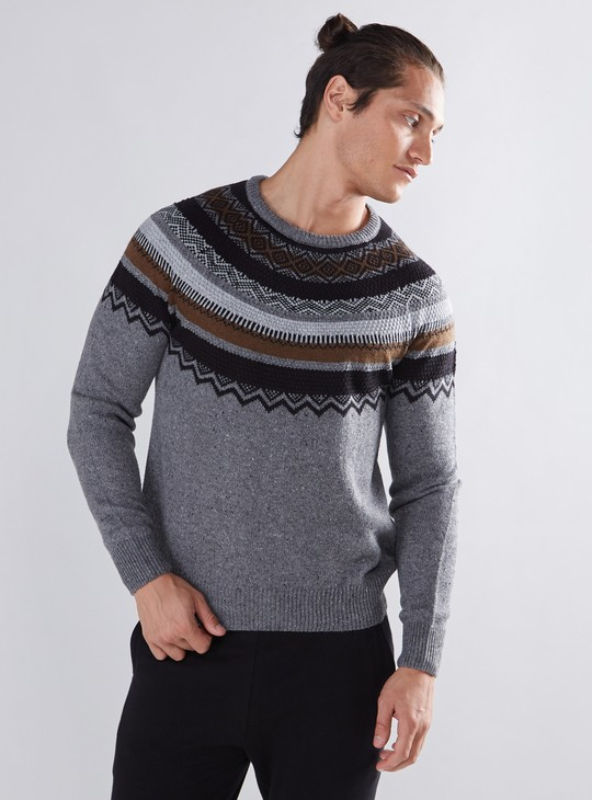 Textured Intarsia Sweater with Long Sleeves