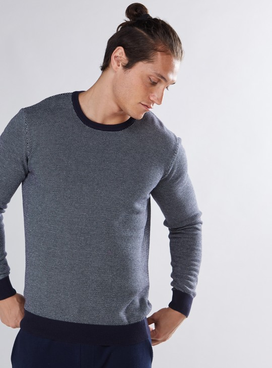 Textured Sweater with Round Neck and Elbow Patch Long Sleeves