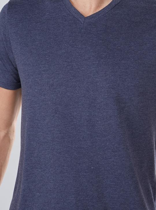 Melange T-Shirt with V-Neck and Short Sleeves