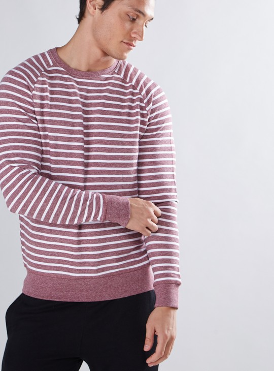 Striped Sweatshirt with Round Neck and Long Sleeves
