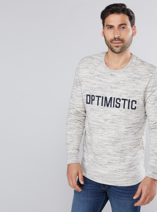 Melange Printed T-Shirt with Round Neck and Long Sleeves