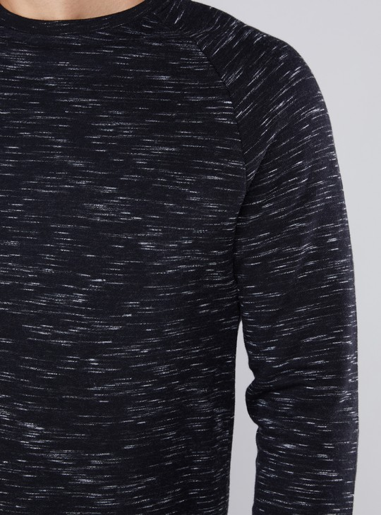 Melange Sweatshirt with Round Neck and Raglan Sleeves