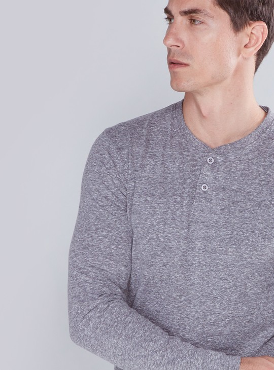 Textured Henley Neck T-Shirt with Long Sleeves