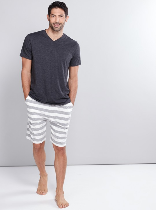 Striped Shorts with Elasticised Waistband and Drawstring