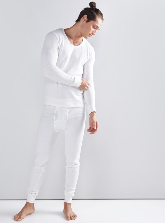 Ribbed Thermal Jog Pants with Elasticised Waistband
