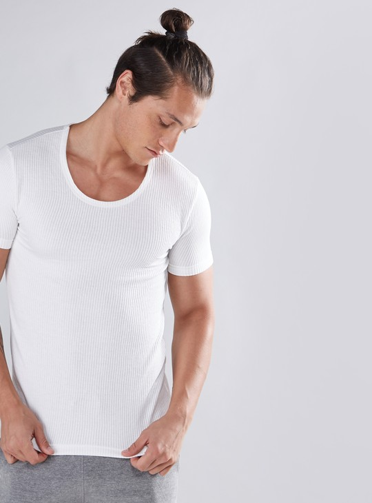 Ribbed Thermal T-Shirt with Round Neck and Short Sleeves