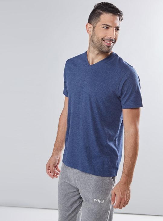 Melange Printed V-Neck T-Shirt with Short Sleeves