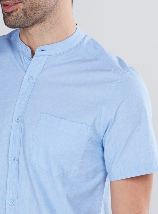 Mandarin Collar Shirt with Short Sleeves and Complete Placket