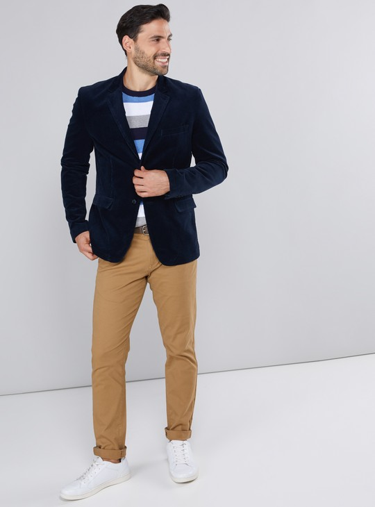 Notched Lapel Blazer with Long Sleeves and Pocket Detail