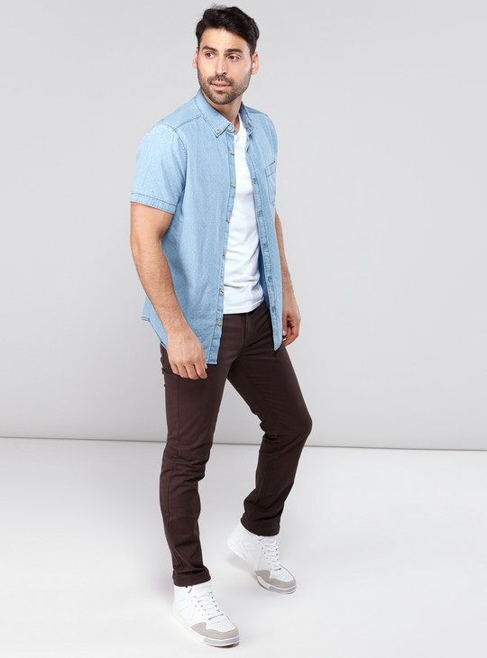 Full Length Pants in Slim Fit with 5-Pocket Styling