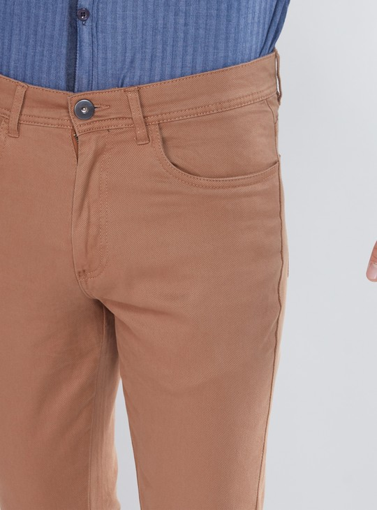 Full Length Chino Pants with Button Closure and Pocket Detail
