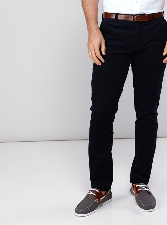 Full Length Corduroy Chinos with Button Closure and Pocket Detail