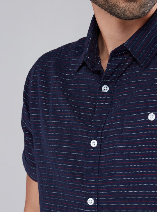 Striped Shirt with Short Sleeves and Complete Placket