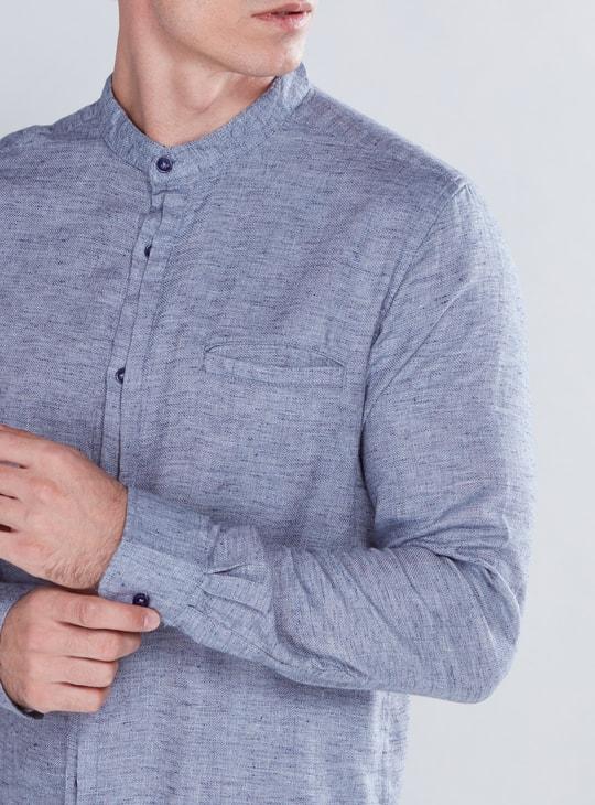 Textured Shirt with Mandarin Collar and Long Sleeves