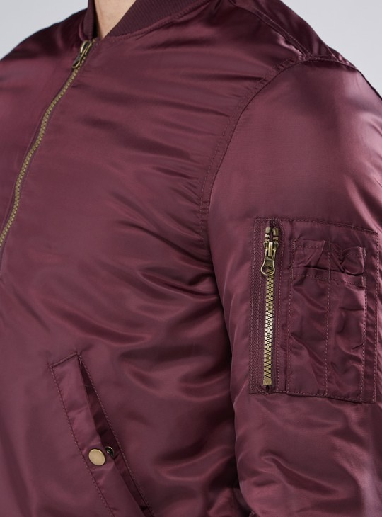 Pocket Detail Bomber Jacket with Zip Closure and Long Sleeves