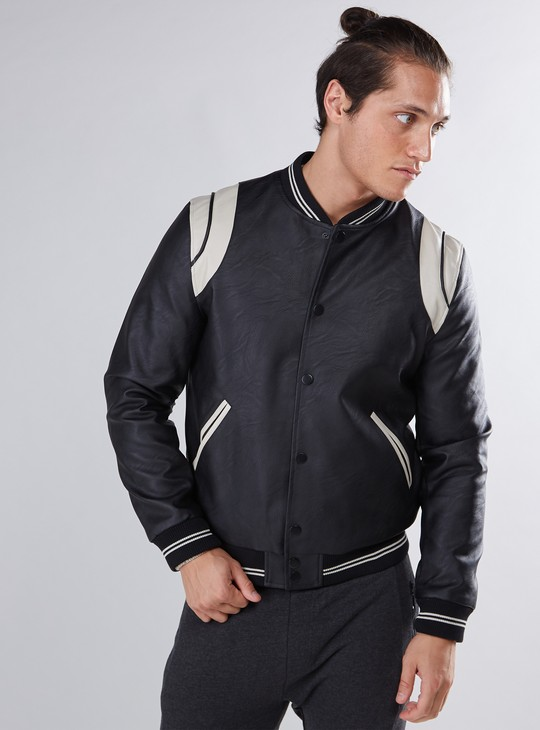 Bomber Jacket with Pocket Detail and Button Closure