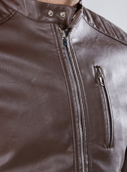 High Neck Biker Jacket with Long Sleeves and Zip Closure