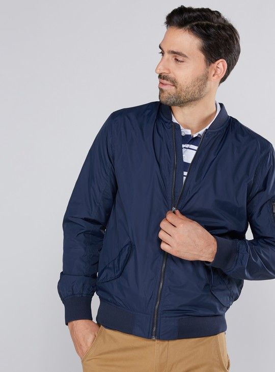 Pocket Detail Jacket with Long Sleeves and Zip Closure
