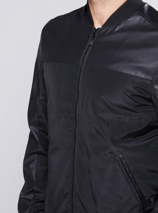 Long Sleeves Bomber Jacket with Zip Closure