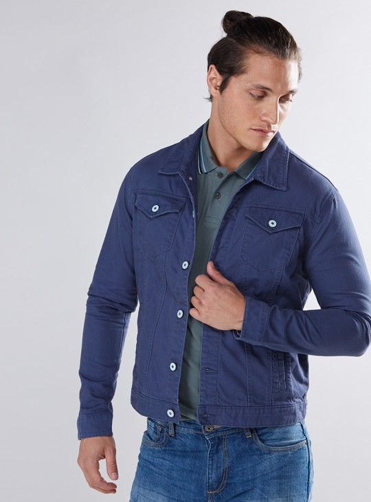 Long Sleeves Denim Jacket with Pocket Detail and Button Closure