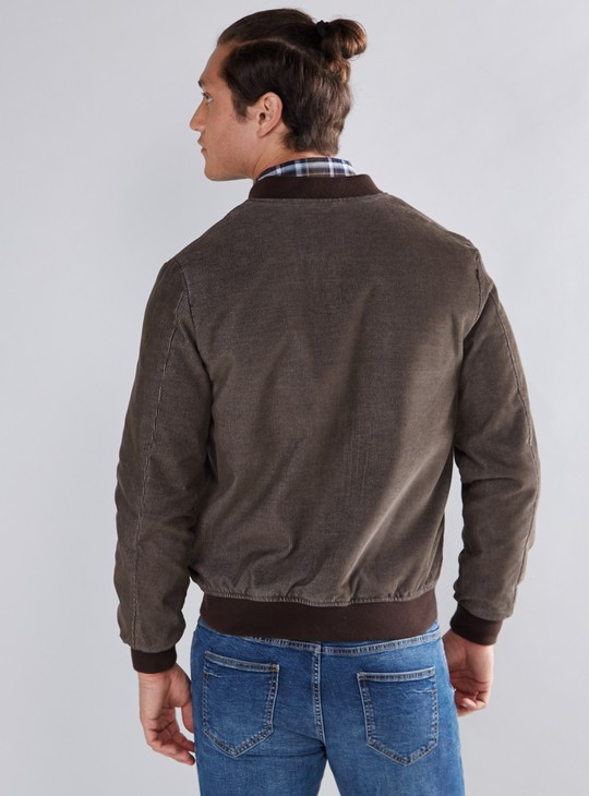 Textured Bomber Jacket with Pocket Detail and Zip Closure