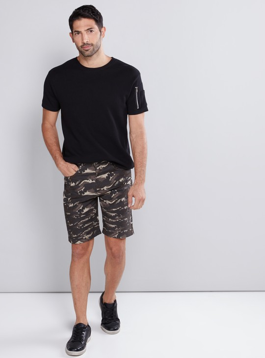 Textured T-Shirt with Zip Detail and Short Sleeves
