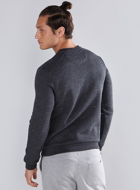 Textured Sweatshirt with Long Sleeves and Zip Detail