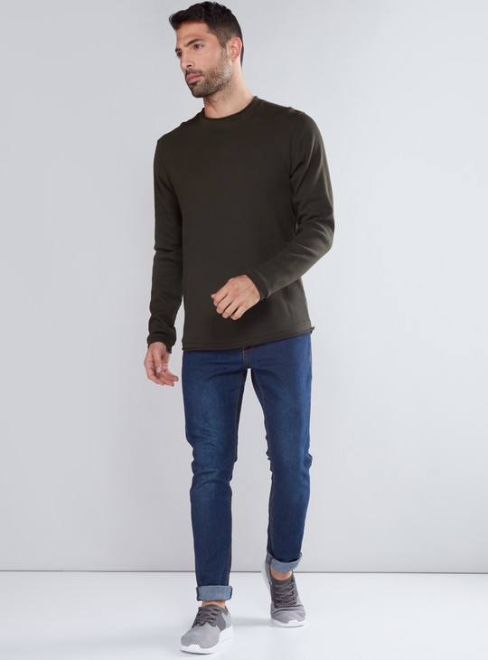 Ribbed T-Shirt with Round Neck and Long Sleeves