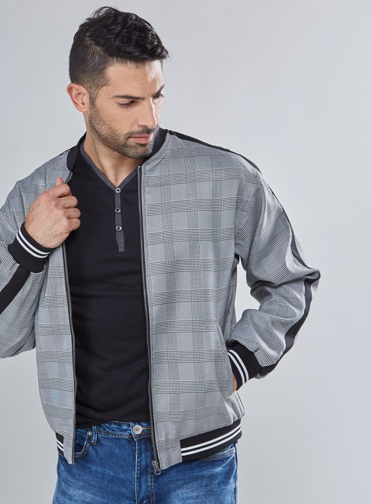 Chequered Jacket with Zip Closure and Long Sleeves