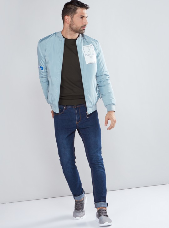 Long Sleeves Bomber Jacket with Pocket Detail