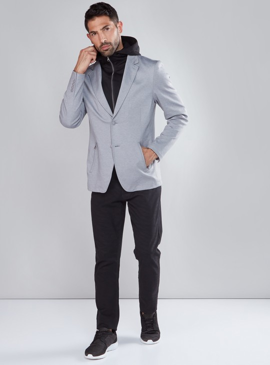 Textured Jacket with Button Closure and Long Sleeves