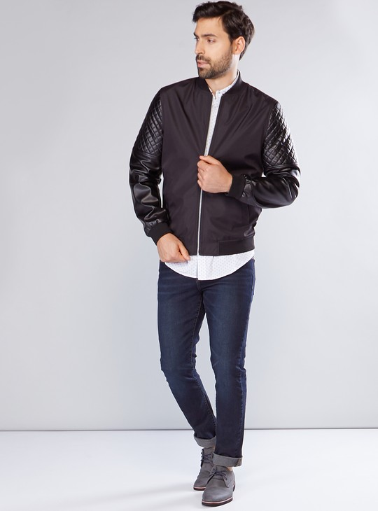 Quilted Bomber Jacket with Long Sleees and Zip Closure