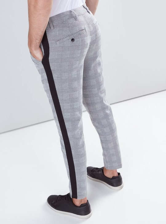 Cropped Chequered Trousers with Button Closure and Tape Detail