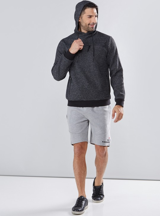 Textured Sweatshirt with Long Sleeves and Hood