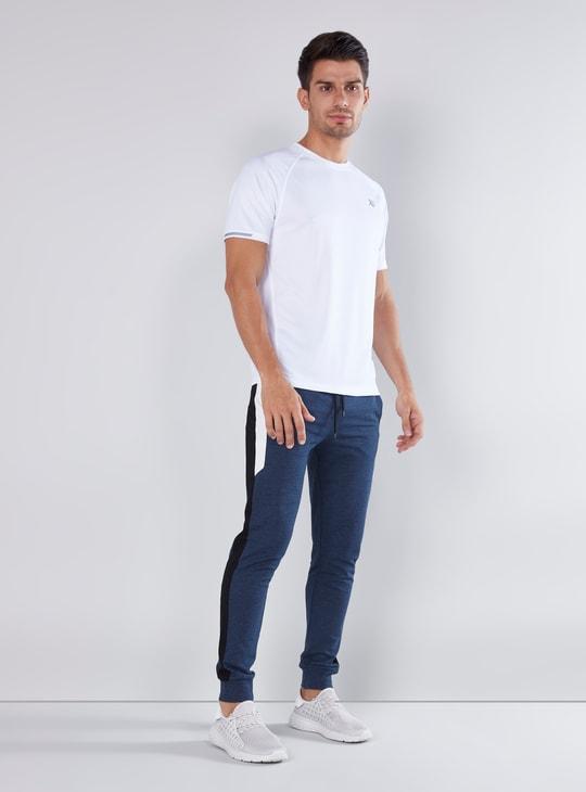 Full Length Plain Jog Pants with Tape Detail and Drawstring