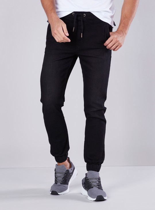 Slim Fit Mid-Rise Cuffed Joggers with Drawstring Closure
