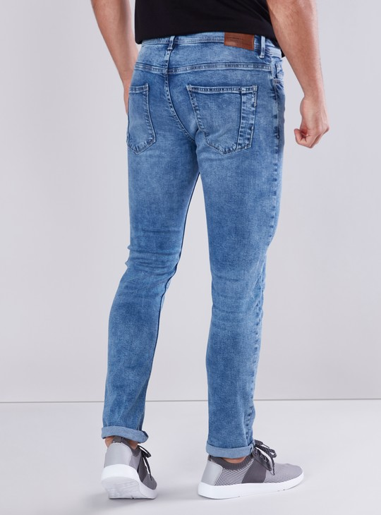 Skinny Fit Plain Jeans with Pocket Detail