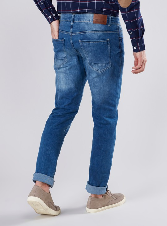 Skinny Fit Plain Mid Waist Jeans with Pocket Detail and Belt Loops