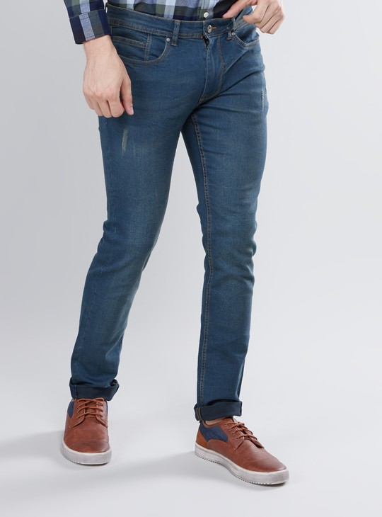 Slim Fit Full Length Jeans with 5-Pockets and Button Closure