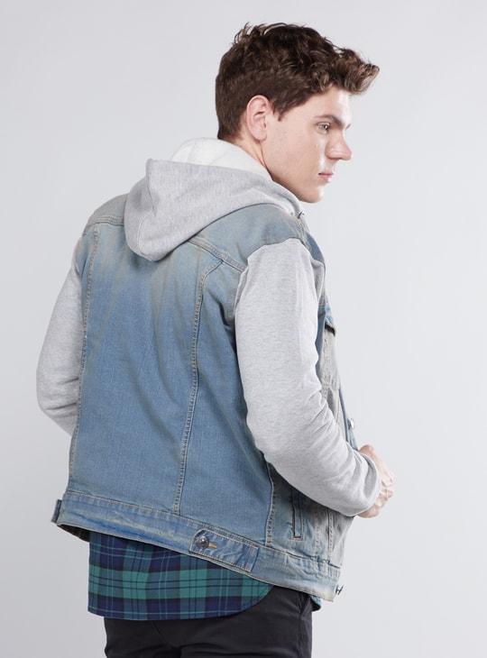 Plain Denim Jacket with Pocket Detail and Hood
